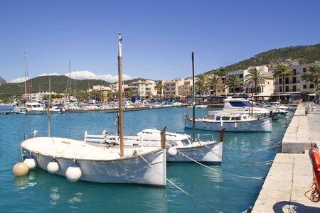Andratx port marina with llaut boats in Mallorca balearic islands photo