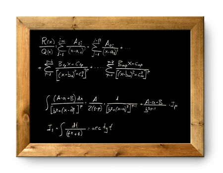derivation: blackboard with written difficult mathematical integral formula