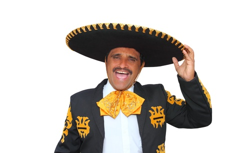 mexican black: Charro mariachi man portrait shouting isolated on white
