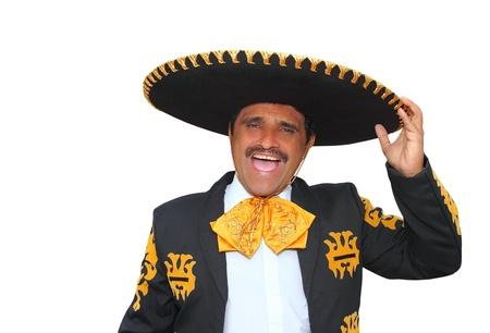 sombrero: Charro mariachi man portret schreeuwen op wit wordt geïsoleerd