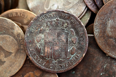 cents: coin peseta real old spain republic 1937 currency and cents centimos
