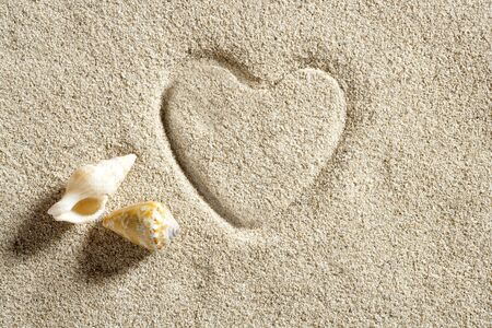 beach white sand with heart shape printed such a summer vacation concept still life Stock Photo - 10048829