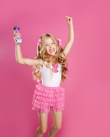 children little star singer like fashion doll with mic jumping high photo