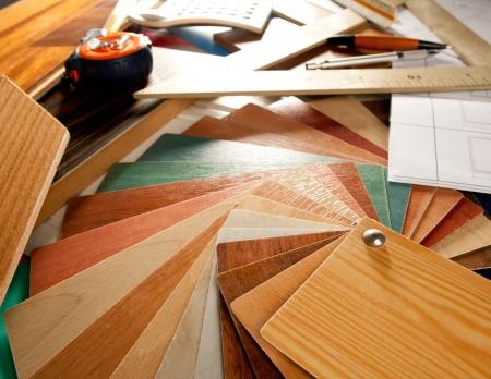 Architect inter designer or carpenter workplace with desk design tools Stock Photo - 10214472