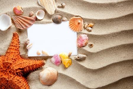 copyspace blank paper on white beach sand summer starfishand and shells photo