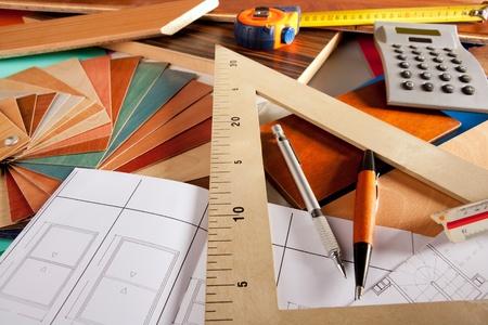 Architect interior designer or carpenter workplace with desk design tools photo