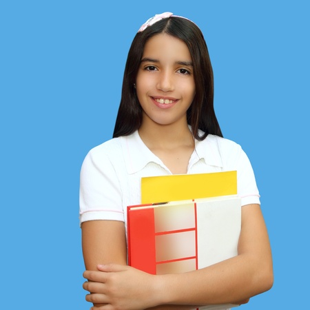 indian blue: brunette teen  indian latin student holding school books isolated on blue