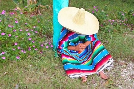 Mexican lazy typical sombrero hat man poncho having a nap in the garden  photo