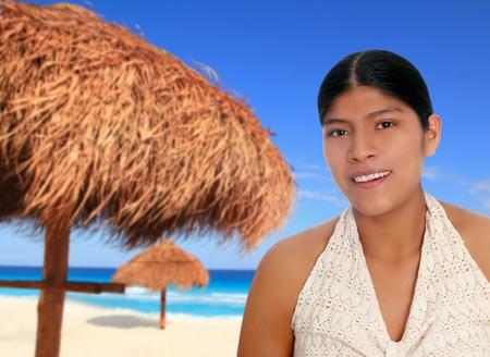 indigenous culture: Latin hispanic mayan woman portrait in Caribbean beach