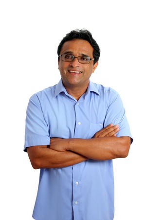 indian latin businessman with glasses and blue shirt isolated on white photo