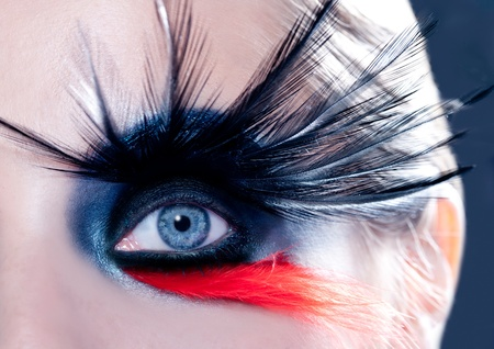 blue woman eye with fashion makeup bird inspired with black and red feathers photo