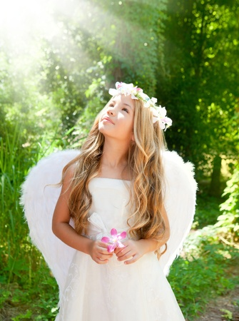 innocent girl: Angel children girl in forest with flower in hand looking sky Stock Photo