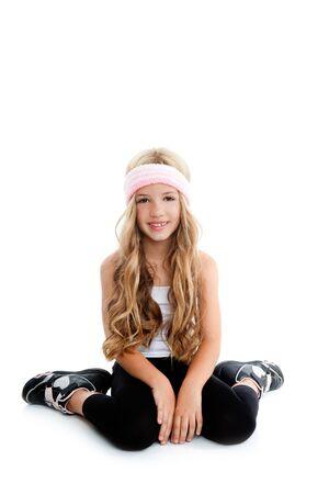 Children gym girl posing in studio white background photo