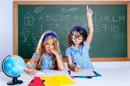 nerd glasses: smart nerd student in classroom raising hand with sad friend