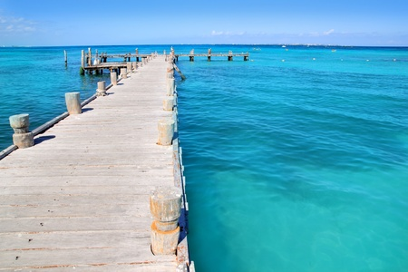 cancun: Cancun wood pier in  tropical Caribbean beach Stock Photo