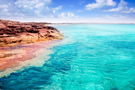 formentera: Formentera Illetes island in turquoise tropical Mediterranean sea Stock Photo