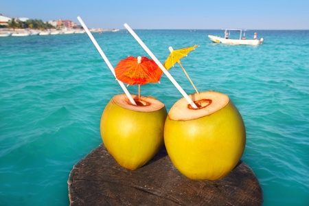 coconut coktails in caribbean on wood pier and turquoise sea Stock Photo - 10437660