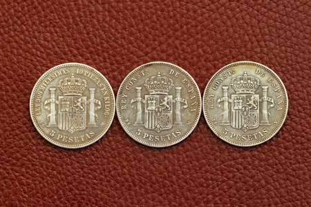 five pesetas spain old coins Alfonso XII Carlos III Ioseph Napoleon photo