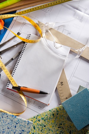 Architect or interior designer workplace desk with spiral notebook blank copy space Stock Photo - 10438022