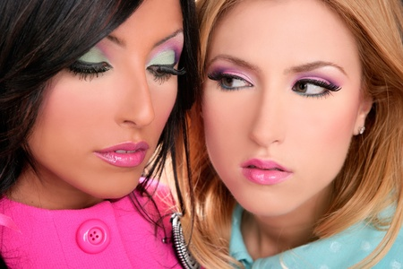 blonde and brunette women 80s pink style makeup closeup faces photo