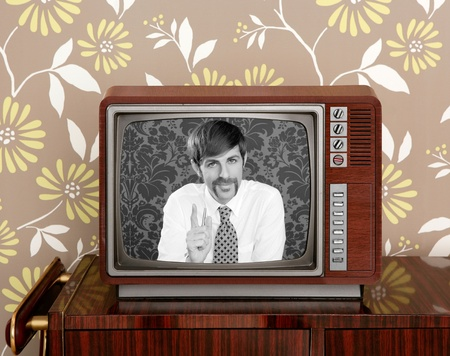 tv presenter mustache man in wooden retro television brown wallpaper photo