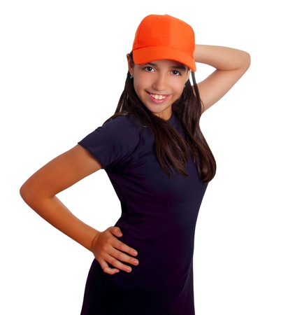 Latin teen girl hispanic ethnicity pensive girl with orange cap isolated on white photo