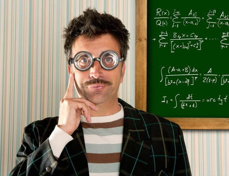 myopic: Genius nerd glasses silly man board math formula pensive gesture thinking expression
