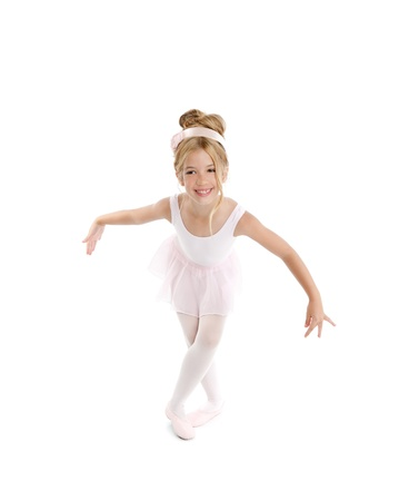 Ballerina girl dancer dancing isolated on white  photo