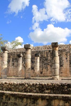 chichen itza: Columns Mayan Chichen Itza Mexico ruins in rows Yucatan