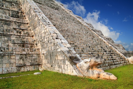 Kukulcan serpent snake El Castillo Mayan Chichen Itza pyramid Mexico Yucatan photo