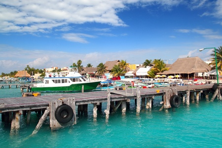 mujeres: Isla Mujeres island dock port pier colorful Mexico Cancun