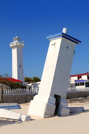 morelos: Lighthouse new and old inclined in Puerto Morelos Mayan Riviera from Mexico