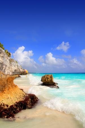 riviera maya: Caribbean beach in Tulum Mexico under Mayan ruins Mayan Riviera