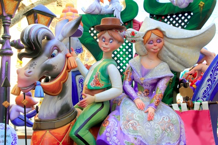 fallas: fallas popular fest from Valencia with papier mache figures sculpture in Spain Editorial