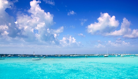 estany des peix in Formentera lake with anchor boats in Mediterranean Spain Stock Photo - 10437804