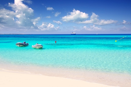 formentera: Illetas illetes tropical beach in Mediterranean with turquoise color a real paradise Formentera island