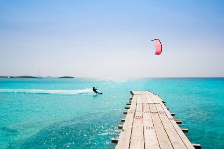 balearic: Formentera beach wood pier over turquoise water from balearic Mediterranean sea paradise