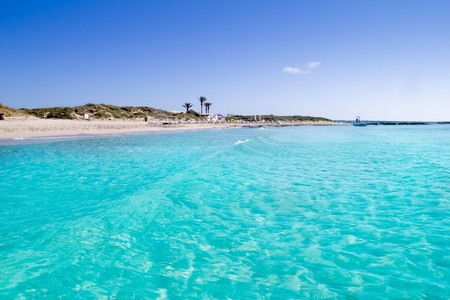 ibiza: Illetas illetes turquoise beach shore Formentera in Spain balearic islands