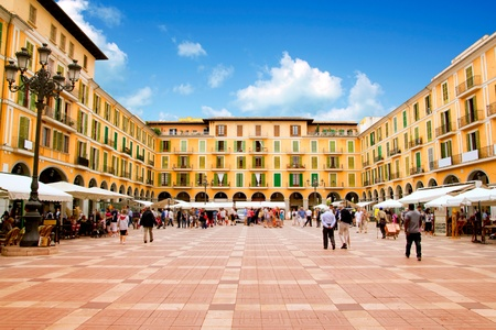 Majorca Plaza Mayor Major in Palma de Mallorca at old city downtown Editorial
