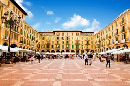 Majorca Plaza Mayor Major in Palma de Mallorca at old city downtown Redactioneel
