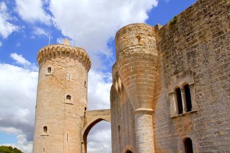 palma: Bellver Castle Castillo tower in Majorca at Palma de Mallorca Balearic Islands Stock Photo