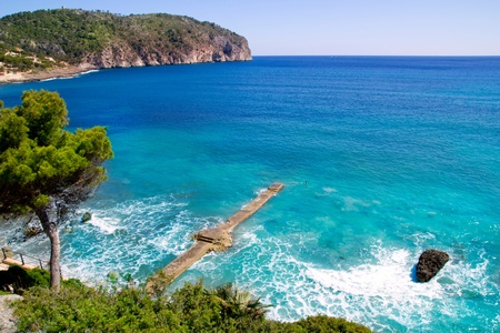 balearic: Andratx Camp de Mar in Mallorca Balearic Islands stone pier beach