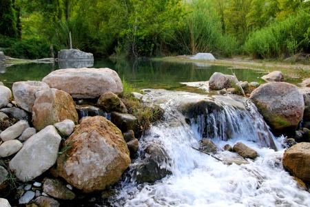 cascade range: Mijares river near Montanejos nature waterfall Castellon Spain