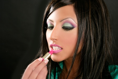 fashion brunette with pink makeup lipstick retro 80s style photo