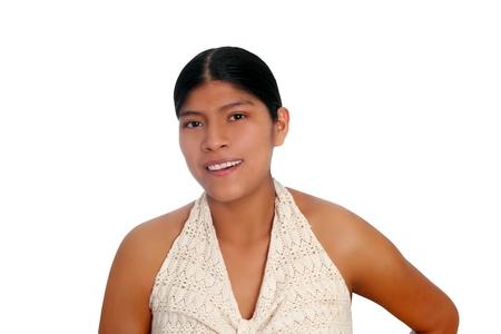 Retrato de Latina hispana mujer maya aislado en blanco photo