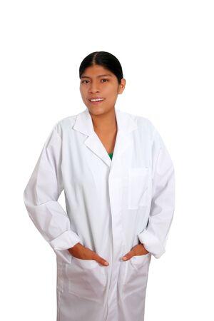 América hispana mujer joven médico aislado en blanco photo