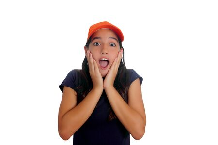 Beautiful Latin teen hispanic girl with cap and surprise gesture isolated on white photo