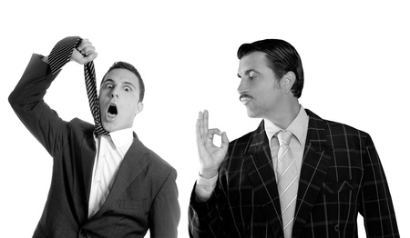 mustache retro businessman with ok gesture hand and tie hangman depressed both side of a crisis photo