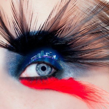 blue woman eye makeup bird inspired with black and red feathers and night city in eyelid photo