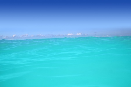 riviera maya: caribbean wave turquoise water horizon line and blue sky